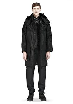 MULTI POCKET PARKA WITH SHEARLING LINED HOOD - Short Length Jackets Men - Alexander Wang Online Store