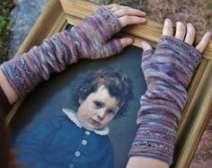"""I've knit my hand painted Organic Merino Fingering, """"Renaissance"""", into these wonderful mitts designed by Melissa Schaschwary. Find the yarn in my Etsy shop http://www.etsy.com/shop/MorningBrightFarm and the pattern on Ravelry http://www.ravelry.com/patterns/library/a-time-to-reap"""