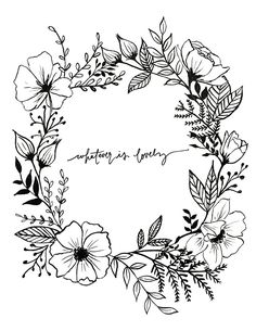 Hand Lettered Floral Art Print Philippians 4:8 by AprylMade