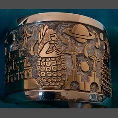 Hopi Silver Gold Bracelet by Watson Honanie