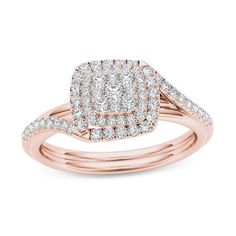 #Valentines #AdoreWe #Zales - #Zales 3/8 CT. T.w. Composite Diamond Double Square Frame Bypass Engagement Ring in 14K Rose Gold - AdoreWe.com