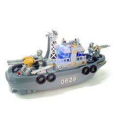High Quality Electric Plastic Mini Marine Patrol Flashing Light Sound Boat Military Model Water Toys for Kids Automatic Gift