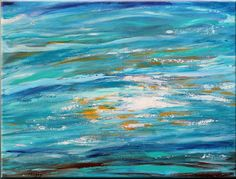 original abstract paintingocean bluewavereflection. by maggyart, $89.00