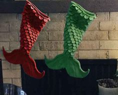 Unique mermaid tail stocking is ready to hang for Santa! Fill with goodies from Santa or use as a bag for treasures. Stocking has scales on the front and is smooth on the back. Stocking measures 9 wide at the top. 15 1/2 from top to top of the tail (fill-able space). Tail measures 18 1/2 wide and overall length is 21. If you dont see your favorite color listed, ask and I will check for availability