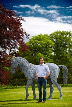 Life-size Wire Horse Sculpture by Rupert Till