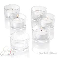 72 Tealight Candles Holders Clear Glass Tea Lights