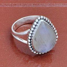 925 SOLID STERLING SILVER RAINBOW MOONSTONE RING 4.98g DJR3976 #Handmade #Ring