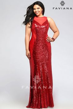 Faviana 9357 Red Sequins Faviana Curve Full Figure Plus Size Prom Dress - #ipaprom