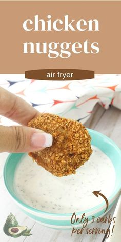 Air Fryer Chicken Nuggets are a simple and delicious recipe kids of all ages will love. Full of flavor without any additives or preservatives, you will never want premade chicken nuggets again! Spicy Chicken Nuggets Recipe, Chicken Nugget Recipes, Awesome Food, Good Food, Yummy Food, Big Salad, Pork Rinds, Ground Chicken, Ranch Dressing