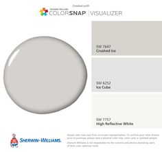 I found these colors with ColorSnap® Visualizer for iPhone by Sherwin-Williams: Crushed Ice (SW 7647), Ice Cube (SW 6252), High Reflective White (SW 7757).