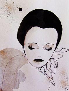 Portrait Sad Pierrot Face Art Portrait par CelineArtGalerie sur Etsy, €65.00