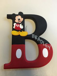 Mickey Mouse Wooden Wall Letter,  Mickey Mouse Initial
