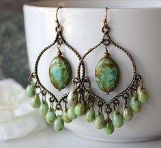 Green Picasso Czech Glass Chandelier Earrings Green by SoleilGypsy