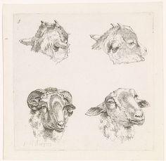 Barend Hendrik Thier | Vier koppen, van geiten en een ram, Barend Hendrik Thier, 1777 |
