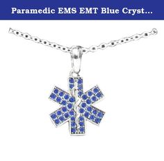 Paramedic EMS EMT Blue Crystal Silver Chain Fashion Necklace. Our charm honors Paramedics, Military Medics and Corpsman, EMS, and EMTs everywhere who leave their loved ones each day to protect our communities with honor and selfless attention to duty. This Beautiful Silver Plated Star Of Life Charm measures approximately 1 inch in width and 1 inch in height all adorned with stunning blue crystals. All resting upon a Silver Chain Fashion Necklace measuring approximately 18 inches in…