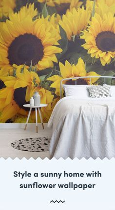 Invite a positive feel to your home with a sunflower wallpaper, a radiant flower thats instantly recognisable for its vibrant yellow petals. Iphone Wallpaper Preppy, Sunflower Iphone Wallpaper, Wall Wallpaper, Mobile Wallpaper, Sunflower Design, Yellow Sunflower, Traditional Wallpaper, Vintage Designs, Floral Designs