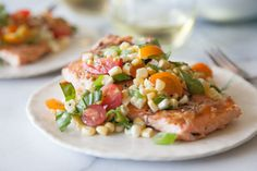 Crispy #Salmon with Succotash. Buy WILD NOT FARMED SALMON. http://www.smarthealthtalk.com/farmed-salmon-infected-with-viruses.html