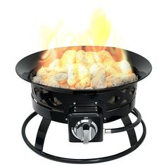 Sunward Patio Portable Outdoor BTU Propane Fire Pit / Fire bowl / Lava Rocks, Carry Handle, Lid and Weather Resistant Bag Included! Fire Pit Bowl, Fire Bowls, Fire Pits, Outdoor Propane Fire Pit, Outdoor Fire, Camping Fire Pit, Outdoor Settings, Backyard Patio, Outdoor Storage