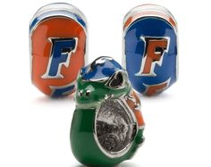 University of Florida Gators Round Bead Charm Set of Three - Florida Gator + 2 Round Bead Charms - Orange and Blue - Stainless Steel