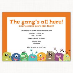 Kids' Halloween party invitation - monster theme