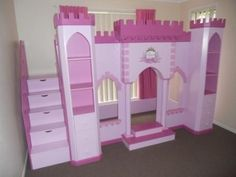 Princess Palace Castle Playhouse Loft Bed with Staircase - By KidSpace Playrooms traditional kids