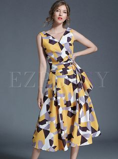 Graffiti Gathered Waist Sleeveless V-neck Skater Dress | Ezpopsy.com