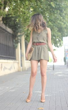 Transition outfit: Khaki Jumpsuit, Belt, (tights if needed) and Heels.