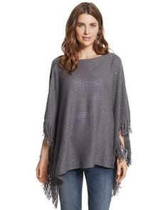 Chico's Stormy Fringe Boatneck Poncho #chicos    I own it and it's warm and beautiful.  :-)  #chicossweeps