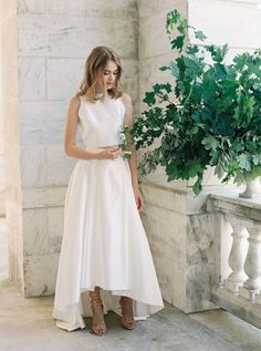 Bridal satin high low skirt - $650. Bridal Separates for the Modern Bride