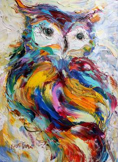 Original Owl palette knife painting impressionism by Karensfineart