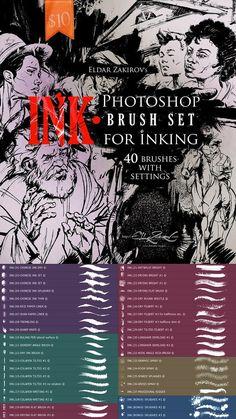 INK 40 Photoshop Brushes for Inking + Photoshop Action 22674425 Photoshop Elements, Cool Photoshop, Photoshop Effects, Photoshop Brushes, Photoshop Tutorial, Photoshop Actions, Gimp Brushes, Photoshop Design, Photoshop For Photographers