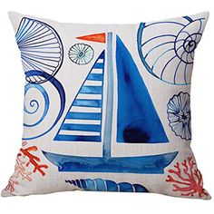 Pidada Throw Pillow Case Covers Sailboat Nautical Pattern Cotton Blend Linen Square Decorative for Sofa Bedroom Home Decor 18x18 Blue * Visit the image link more details. Note: It's an affiliate link to Amazon