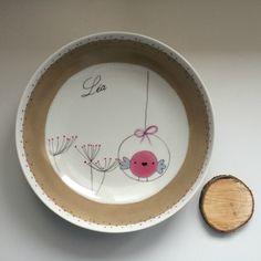 Assiette de naissance, en porcelaine, personnalisée et décorée à la main