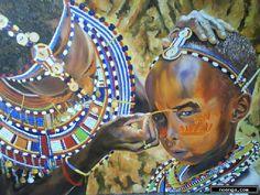 noenga.com :(c) Mario Varela (MEXICO) :: For Your Eyes Only :: Figure : Impressionistic : Painting : Oil : Oleo en Canvas de 60 x 80 . Los adornos del Rift Africano