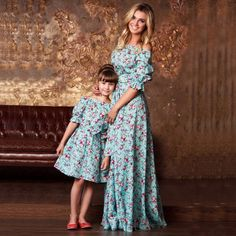 Sunny eva flower print Dress up mom and daughter matching mother daughter dresse Family clothing matching Family floral set