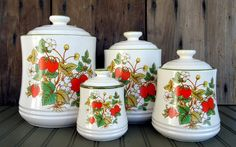 Vintage Strawberry Canister Set #pinhonest ... I would sooooo love these for my kitchen!!!