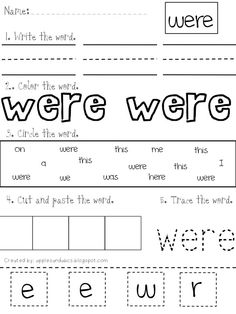 Another  sight word trace,find, print, color cut and paste  (make my own?)   Love, Love, Love this!