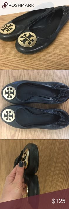 Make an offer! Tory Burch Reva Flats Tory Burch Reva flats. Black leather with gold tone logo. Iconic and classic! These are pre-loved but still in GREAT condition. They are a little worn on the very front toe but nothing major.  They do run a little big. Tory Burch Shoes Flats & Loafers