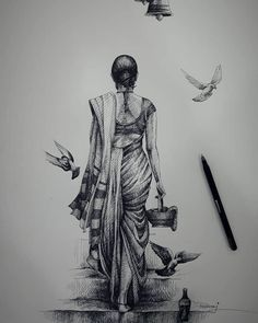Lady and birds. Click the image, for more art from Meher. Abstract Pencil Drawings, Landscape Pencil Drawings, Pencil Art Drawings, Art Drawings Sketches, Pencil Sketch Art, Bird Pencil Drawing, Hipster Drawings, Pen Sketch, Girl Sketch