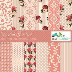 English Garden Digital Papers - Scrapbook - Mygrafico.com