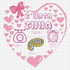 Hjerte Baby Cross Stitch Patterns, Cross Stitch Baby, Cross Stitch Designs, Cross Stitch Embroidery, Hand Embroidery, Cross Stitch Letters, Cross Stitch Boards, Birth Records, Baby Shower Cards