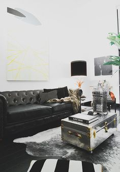 how to find the perfect sofa. This black chesterfield sofa from Home Decorators is another great option for a room with high ceilings or a cozy den. Because the floor is painted black, t Glam Living Room, Living Room Paint, New Living Room, Living Room Sofa, Living Room Decor, Best Leather Sofa, Black Leather Sofas, Leather Chesterfield, Black Couches