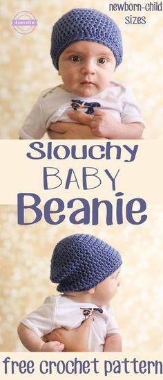 Slouchy Baby Beanie Hat   Sizes newborn - child   Free Crochet Pattern from Sewrella
