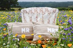 Lilly Dilly's handmade MR & MRS cushions, photo courtesy of R&L Photography Hessian, Burlap, Mr Mrs, Chairs, Cushions, Throw Pillows, Lace, Handmade, Photography