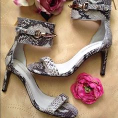 Croc embossed  sandals!! Beautiful sandals new , with the box .. Back zipper 3.5' heels Shoes