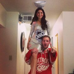 Cute couples costumes. Stanley cup and red wing costume. #couplescostume #halloween #stanleycup #redwing