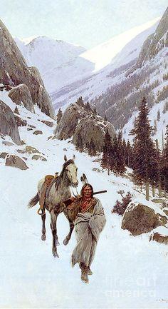 Henry Farny : Through The Pass Winter Native American Ancestry, Native American Warrior, Native American Paintings, Native American Artists, Indian Paintings, Cool Paintings, Native American Indians, Native Indian, Native Art