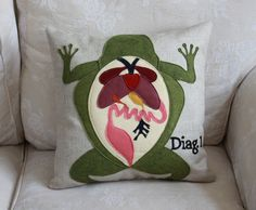Diagram Pillow Frog Dissection by shopdirtsa on Etsy