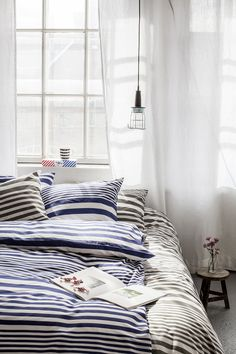 Sanna Luhaniemi / Striped bedding Striped Bedding, Comforters, Blanket, Interior, Furniture, Home Decor, Creature Comforts, Quilts, Decoration Home