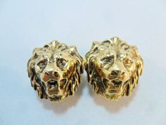 Vintage Earrings Signed ACCESSOCRAFT NYC Lion Head by KathiJanes